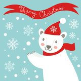 Christmas card with polar bear Stock Images