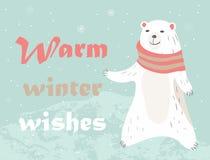 Christmas card with polar bear Stock Photo
