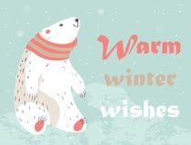 Christmas card with polar bear Royalty Free Stock Photography