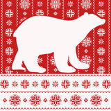 Christmas card with polar bear, nordic style Stock Photo