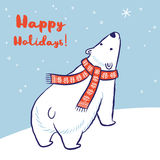 Christmas card of polar bear in red scarf and hat. Happy Holidays card. White hand drawn polar bear in red scarf. Vector illustration Stock Photo