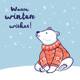 Christmas card of polar bear in red sweater. Warm winter wishes card. White hand drawn polar bear in red sweater. Vector illustration Royalty Free Stock Photography