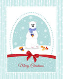 Christmas card with a polar bear, which decorate mandarins beautiful bows. Holidays. Stock Images