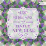 Christmas card. Polygon background. Christmas label.  Royalty Free Stock Photo