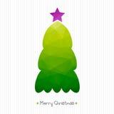 Christmas Card. Polygonal Triangular Christmas Tree. Corrugated Cardboard Structure. Typography. Stock Photo