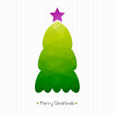 Christmas card. Polygonal triangular Christmas tree. Corrugated cardboard structure. Typography.. Illustration Stock Photo