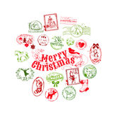 Christmas Card with Postage Stamps Stock Images