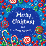 Christmas card poster banner with candies and snowflakes. Vector illustration. Stock Photo