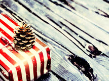 Christmas card with present box close up macro Royalty Free Stock Images