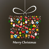 Christmas card present template. Christmas card template with christmas present made of elements Stock Photo