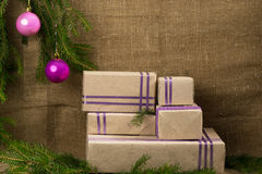Christmas card with presents and place for an inscription Royalty Free Stock Photos