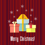 Christmas card with presents Stock Photography