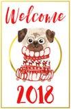 Christmas card with pug stock illustration