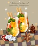 Christmas card with Punch drinks. Winter Holidays cocktails Vector realistic. Christmas card with Punch drinks. Winter Holidays cocktail Vector realistic Stock Images