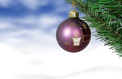Christmas card - purple ball Stock Photos