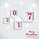 Christmas Card Purple New Year 2017. Christmas card design with snowflakes on the white background Stock Photography