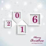 Christmas Card Purple New Year 2016. Christmas card design with snowflakes on the white background Stock Image