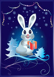 Christmas card with rabbit Stock Images