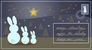 Christmas card with rabbits watching bright stars and greeting t royalty free illustration