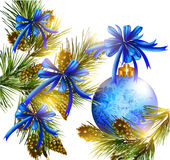 Christmas card with realistic  blue baubles, bows, cones  and fu Royalty Free Stock Photo
