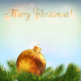 Christmas card. Realistic fir branches and christmas bauble Stock Images