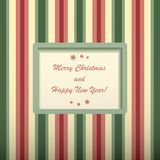 Christmas card with rectangular frame. Christmas striped retro card with rectangular frame and text Royalty Free Stock Photos