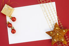 Christmas card on red background Royalty Free Stock Image