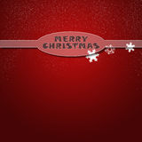 Christmas card on red background. Christmas card with snowflakes on a red background Royalty Free Stock Photo