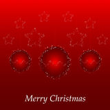 Christmas card with red ball and stars Royalty Free Stock Photos