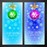 Christmas card with red ball in white snowflakes background, vector illustration. Stock Images