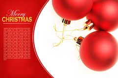 Christmas card with red balls Royalty Free Stock Photo
