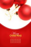 Christmas card with red balls Stock Photos