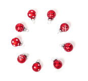 Christmas card, red balls Royalty Free Stock Photography