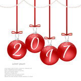 Christmas card with red balls and red bows, the inscription on the balls 2017. Suitable for web design and print. Vector Royalty Free Stock Images