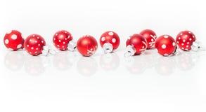 Christmas card, red balls Stock Photos