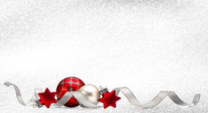 Christmas background with red balls and stars. Christmas card with red balls and stars and silver ribbon on bright white background - computer generated Royalty Free Stock Photos