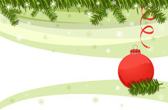 Christmas card with red bauble. And pine fir tree border. Vector illustration saved as EPS AI 8 is now pending inspection Stock Photography