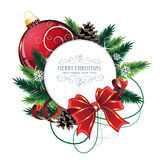 Christmas card with red bauble. Christmas ornaments with bow, ribbon and fir tree branches on white background Stock Photos