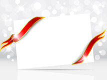 Christmas card with red bow. Christmas or New Year background with blank card and red bow Royalty Free Stock Photography