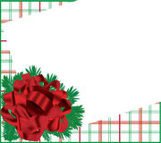 Christmas card. With a red bow checkered background Royalty Free Stock Images