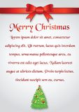 Christmas card red bow and ribbon border and christmas tree belo. W,on plain paper, illustration Royalty Free Stock Photos