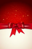 Christmas card with red bow, shiny stars and place for your mess Royalty Free Stock Photos