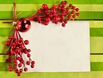 Christmas card with red branches Stock Photos