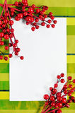 Christmas card with red branches Royalty Free Stock Photography