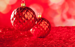 Christmas card of red capiton bauble Royalty Free Stock Images