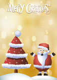 Christmas card with red christmas tree. And Santa Claus in the snow Royalty Free Stock Photos