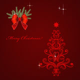 Christmas card with red Christmas tree Royalty Free Stock Image