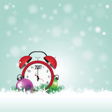 Christmas card with red clock with date 2017. Christmas card with colorful balls and red clock with date 2017 on the snow , vector illustration Stock Image