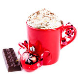 Christmas card with red coffee cup topped with whipped cream and Stock Photos