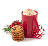 Christmas card with red coffee cup topped with whipped cream Stock Photos
